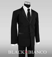 Formal Tuxedo Suit for Kids Additional Bow Tie and Black Long Neck Tie for Boys