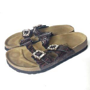 Betula Birkenstock Slides Size 6 Mules Sandals Embossed Rhinestones Tooled Brown