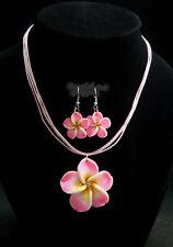 Pink Plumeria Hawaiian Necklace &Earrings Fimo Flower Handcraft Beach,Vacation
