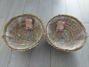 """2 x 14"""" Rustic Rope Hanging Basket. Garden Home Plant Flowers"""