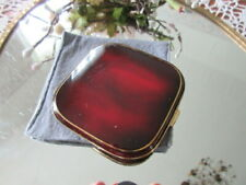 New listing Vintage 1950'S Shaded Red Maroon Enamel Compact w Sleeve Nos m German Fabulous!