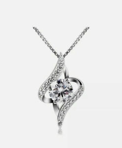 """Stunning B.Catcher 925 Sterling Silver Necklace Cubic Zirconia Pendant 18"""" Boxed"""