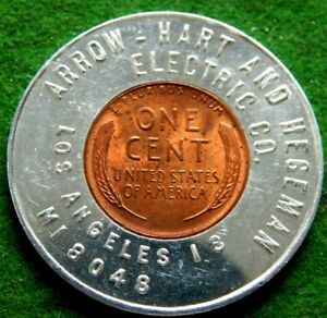 1948 RED ENCASED WHEAT CENT LOS ANGELES ELECTRIC CO ARROW-HART AND HEGEMAN RED!!