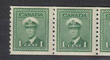1948 #278(PERF. 9 ½) 1¢  KING GEORGE VI WAR ISSUE COIL PAIR F-VFNH
