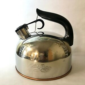 Vintage Revere Ware Copper Bottom Whistling Tea Kettle 2 Qt CU14e