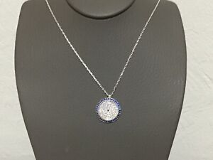 925 STERLING SILVER BLUE SAPPHIRE CZ GREEK MATINCHAIN NECKLACE+GIFT