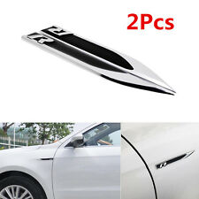2pcs Auto Car Metal Knife Badge Emblem Decal Sticker For Black R R-line Rline