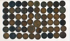60 OLD CANADA LARGE CENTS & TOKENS (COLLECTIBLES) > SEE IMAGES > NO RESERVE