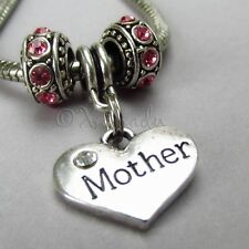 Mother Heart Charm And Birthstone European Beads For Charm Bracelets