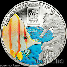 2015 Central African Republic BARRIER REEF Colored Silver Plated COPPER Coin WWF