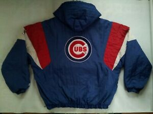 VINTAGE RARE CHICAGO CUBS 1/2 ZIPP PULLOVER WITH HOOD WINTER  JACKET IN SIZE L