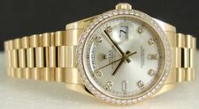 ROLEX - Men's 36mm President Silver Full DIAMOND Bezel 118238 - SANT BLANC