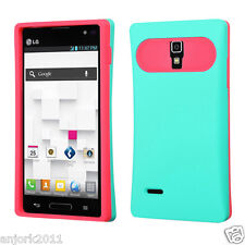LG Optimus L9 T-Mobile P769 Hybrid Card Wallet Case Skin Cover Green Hot Pink