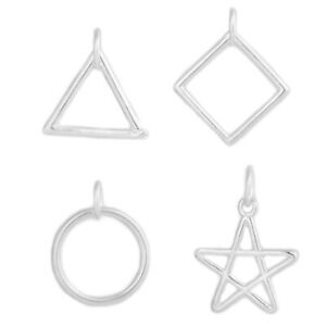Sterling Silver Square Triangle Circle Star Necklace Earring Charm Pendant
