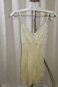 Hanro Vintage Yellow White Lace Panel Cami Vest Top Chemise Size XL