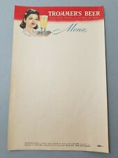 Trommer's Beer Menu Sheet woman 2 beer glasses on a serving tray Brooklyn, Ny
