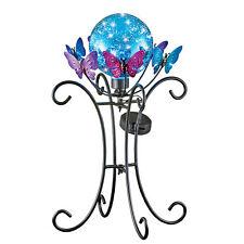 Solar Powered Metal Butterflies and Gazing Ball Garden Statue