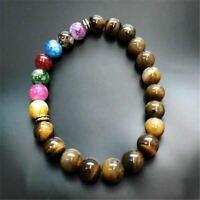 Men Natural 7 Chakra Bracelet Lava Tigers Eye Stone Bracelets Stretch Beaded Yog