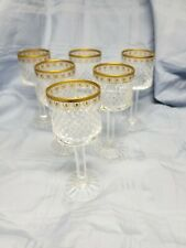 Six(6) crystal cordial/liquer glasses with super etched gold trim