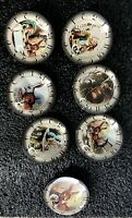 """Alice in Wonderland  7 Glass Oval Dome Button  Clock # Vintage Book Art 1 1/2"""""""