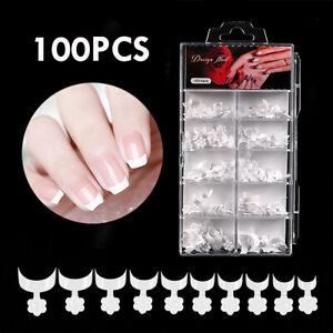 100Pcs False Short French Nail Tips Fake Nails Art Acrylic Nail Gel White Flower