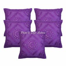 Cotton Abstract Mirror Cushion Cover Embroidered Indian Pillow Case Cover Throw