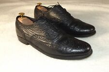 Vtg Stuart McGuire Mens Black Leather Wing Tip Oxford Shoes Size 10.5 M