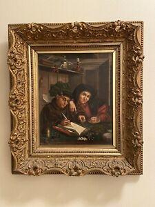Oil painting Marinus van Reymerswaele - Two Tax Collectors 19th Century Repro