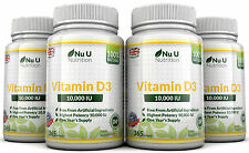 Vitamina D3 10000iu 4 bottiglie x 365 SOFT GEL AD ALTA RESISTENZA 100% Back Guarantee