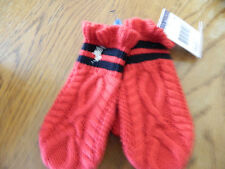 NWT Ralph Lauren girl red cable knit mittens w/2 navy stripes and ruffle; 2T-4T