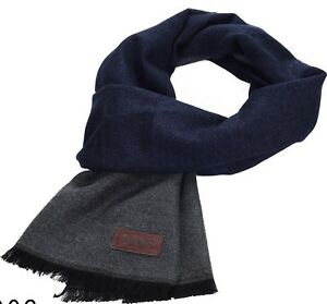 Marino's Winter Cashmere Feel Men Scarf 100% Cotton Fashion Scarves Navy/gray