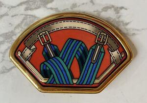 Hermes enamel gold trim jewelry piece bolo necklace leather