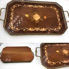 🌈Vintage Italian Serving Vanity Tray Floral Wood Inlay Marquetry