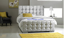UPHOLSTERED CRUSHED VELVET DIAMANTE BED FRAME SINGLE DOUBLE KING SIZE ALLCOLOURS