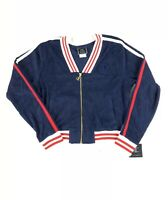 Champion Women's Small Full Zip Cropped Terry Cloth Jacket All Over Logo NWT New