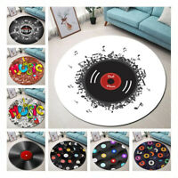 Retro Vintage Record Area Rugs Music Note for Living Room Bedroom Yoga Floor Mat