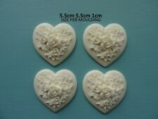 Decorative applique roses on heart x 4 resin furniture moulding onlay rh1x4