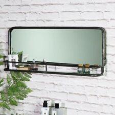 Wide grey rustic industrial wall mirror with shelf living bedroom hall bathroom