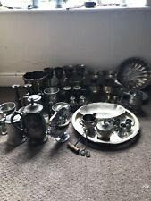 New listing Antique Job Lot - Metalware - Brass, Pewter And Silver Plate 40pcs