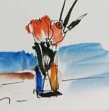 JOSE TRUJILLO NEW ORIGINAL Watercolor Painting SIGNED Small 3x3 MODERN