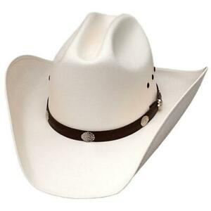 Cattleman Straw Cowboy Hat Black Band Conchos Western Express Elastic Off White