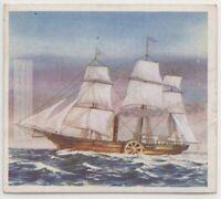 """""""Savannah"""" American Hybrid Sailing Ship/Sidewheel Steamer c80 Y/O Trade Ad Card"""