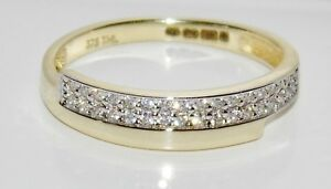 9ct Yellow Gold 0.15ct Crossover Eternity Wedding Ring size N