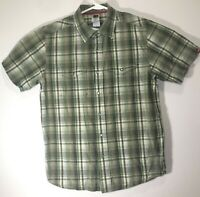 The North Face Mens Shirt Button Front Pearl Snap Buttons Plaid Green SZ Medium