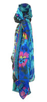 VERSATILE LARGE FINE FLOATY GREEN/BLUE SCARF ORIENTAL HORSES & RIDER DESIGN 68 I