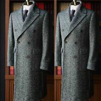 Men's Gray Herringbone Wool Overcoat Outwear Long Jacket Suit Double-breasted