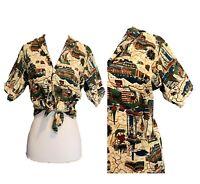 Barkcloth novelty print Button shirt 50s Tiki Souvenir Hawaii Tourist Atomic S M