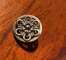 "Antique Pierced two toned Brass Metal / PIERCED BUTTON Cut Steel Center 3/4"""