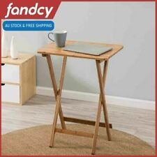 Bamboo Bedside Table Folding Foldable TV Tray Work Serving Reading Desk 38x 48cm