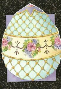 NEW! PUNCH STUDIO EASTER CARD & Env ORNATE EGG with GOLD & FLOWERS- Blank Inside